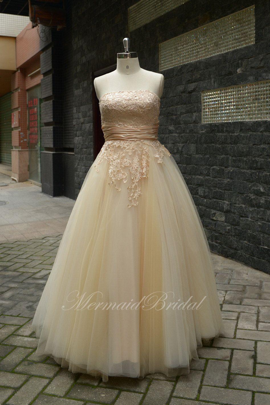 Vintage lace champagne wedding dress   champagne Outdoor Destination wedding dress Vintage lace