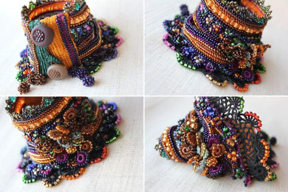 Crocus Flavus freeform crochet bracelet by irregularexpressions