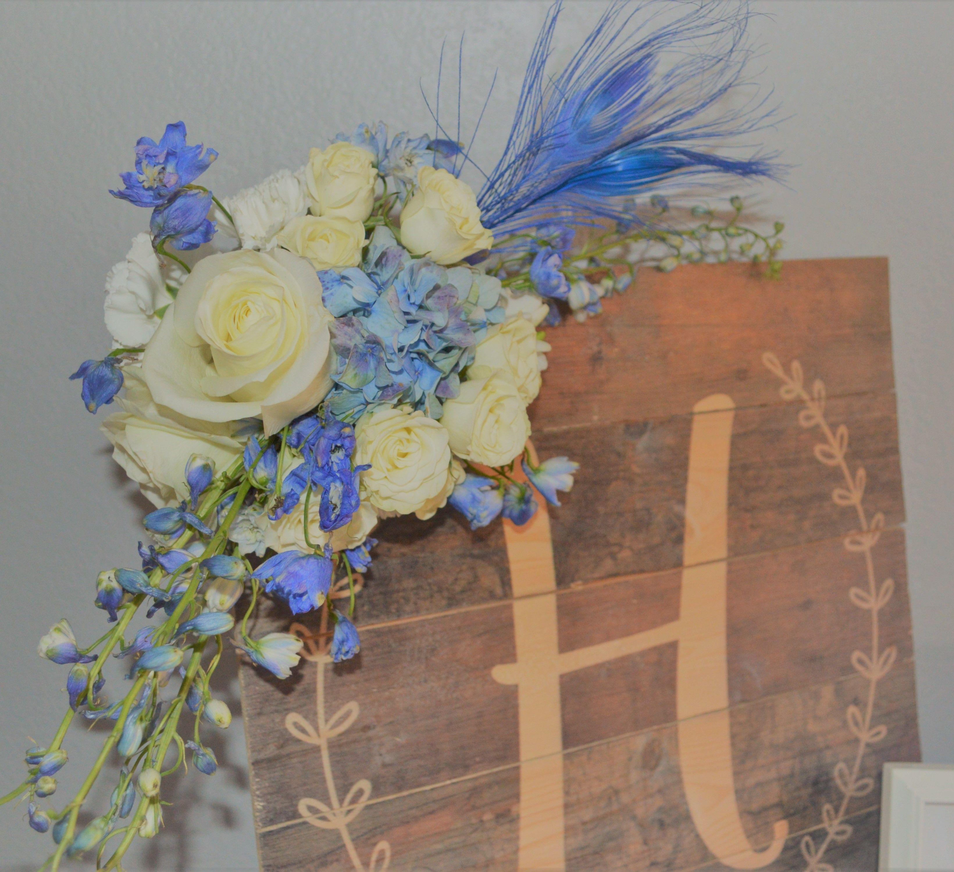 Wooden Letter plaque flowers baby shower Fresh flower