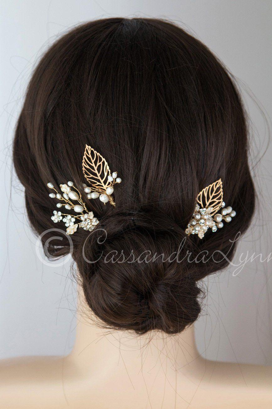 Gold Bridal Hair Pin Set of Leaves and Pearls Babyus Breath