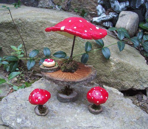 FAIRY MUSHROOM TABLE Dollhouse Miniature Rustic Woodland Garden Furniture. $50.00, via Etsy.