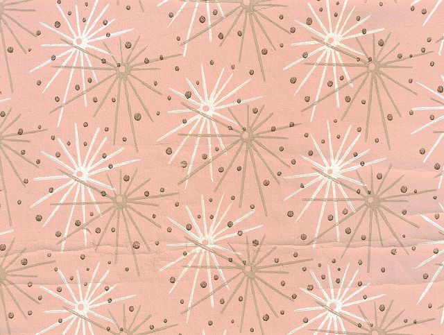 Removable Water-Activated Wallpaper Retro Vintage Mid Century Atomic Starburst