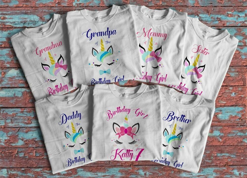 Personalised Unicorn T-Shirts Bodysuits Printed Baby Toddler Matching Tops Girls
