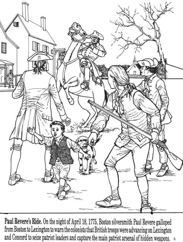All Things John Adams Coloring Pages Paul Revere S Ride People