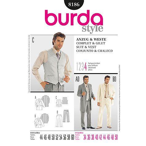 Buy Burda Men\'s Suit Sewing Pattern, B8186 Online at johnlewis.com ...
