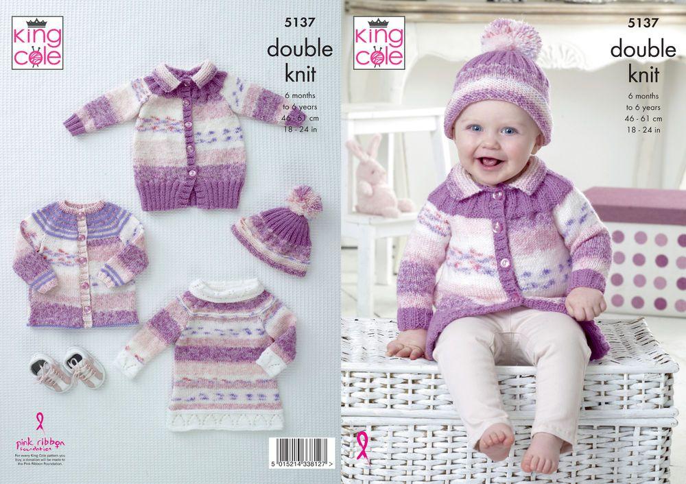 Baby DK Double Knitting Pattern Cardigan Coat Tunic & Hat King Cole ...