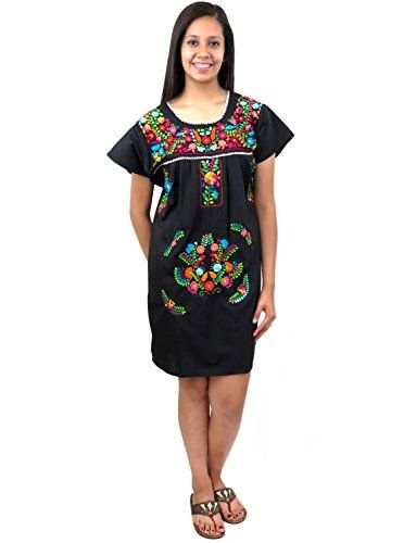 83d3decce2fb5 Leos Imports (TM) Mexican Dress Puebla Short Embroidery (Large, Black with  Multi) *** This is an Amazon Associate's Pin. You can get more details by  ...