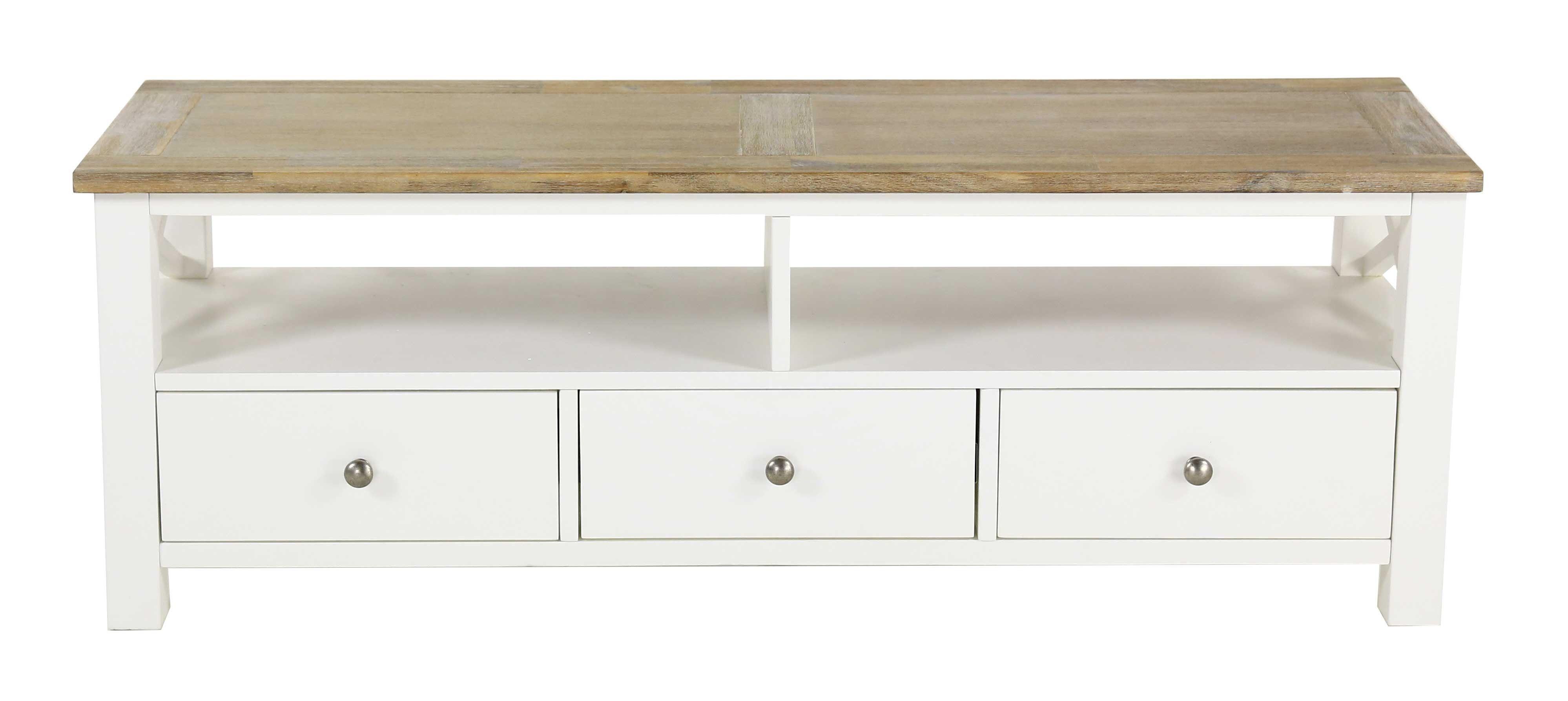 meuble tv blanc 130 cm bois d acacia