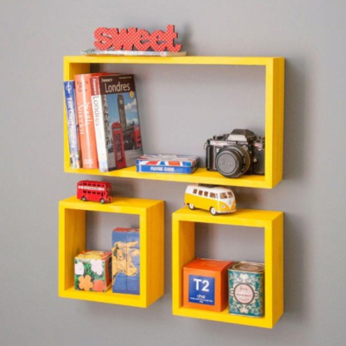 Kit Nichos Amarelo Conjunto Com 3 Cubos Decora O Fortune  ~ Diy Decoração Quarto Pequeno E Nichos No Quarto Do Bebe