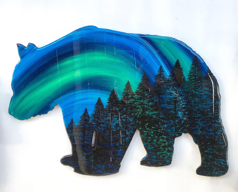 Aurora borealis art northern lights bear wall hanging