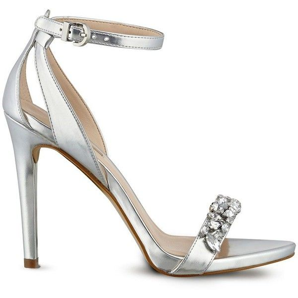 GUESS Catarina Metallic Jeweled Heels ($90) ❤ liked on Polyvore ...