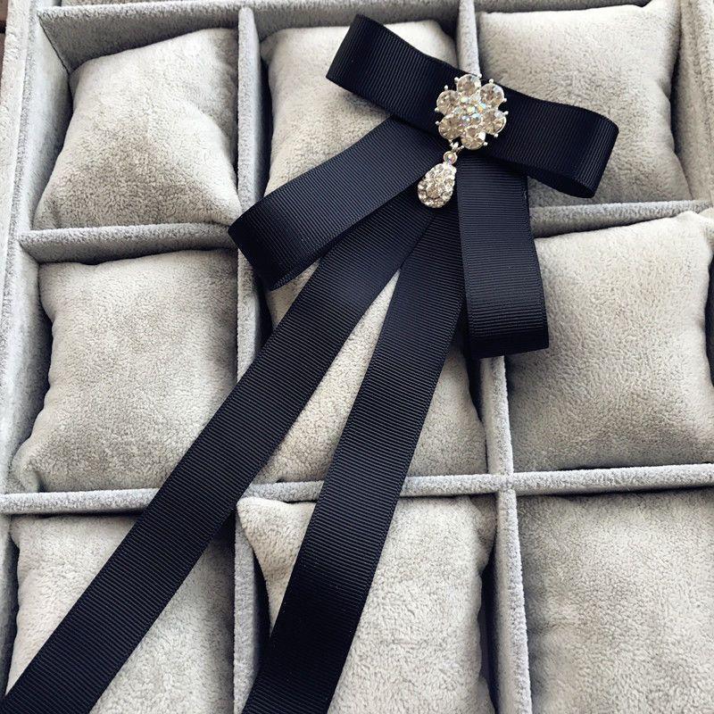 0a0992dda67 Fashion Black Dangle Rhinestone Crystal Women Shirt Pre-Tied Bow Brooch Pin  #Unbranded #BowTie #Ties