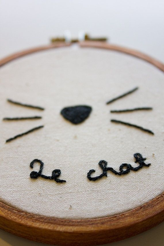 Le Chat cute cat embroidery 10cm 4inch by EllyGehrigDesign, $22.00