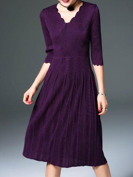 0754404aa7a6 Shop Midi Dresses - Purple A-line Pleated Polyester Elegant Midi Dress  online. Discover unique designers fashion at StyleWe.com.