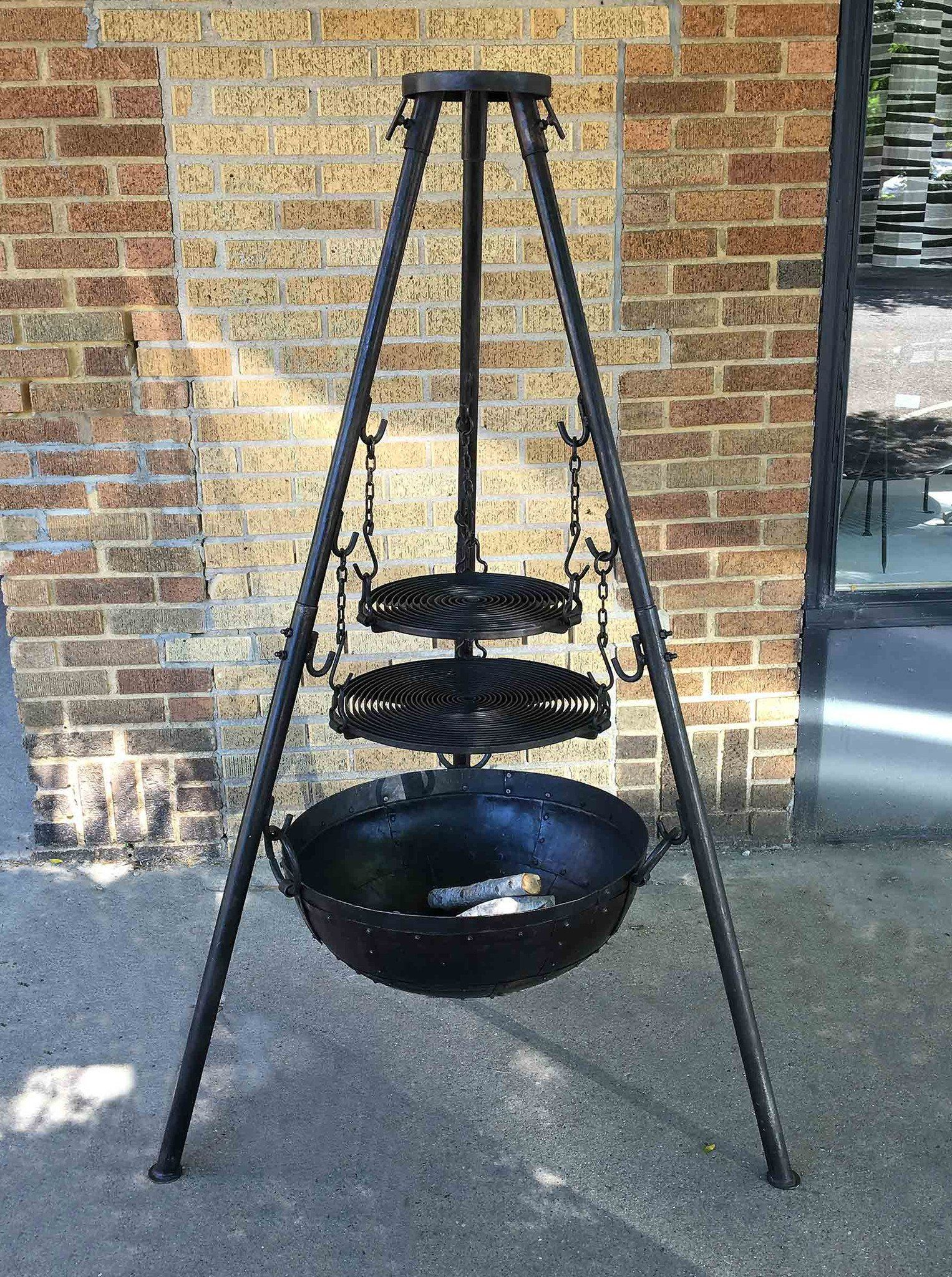 Smart Large Tri-Pod Firebowl Cooking Set Includes Two Grill Grates KA52