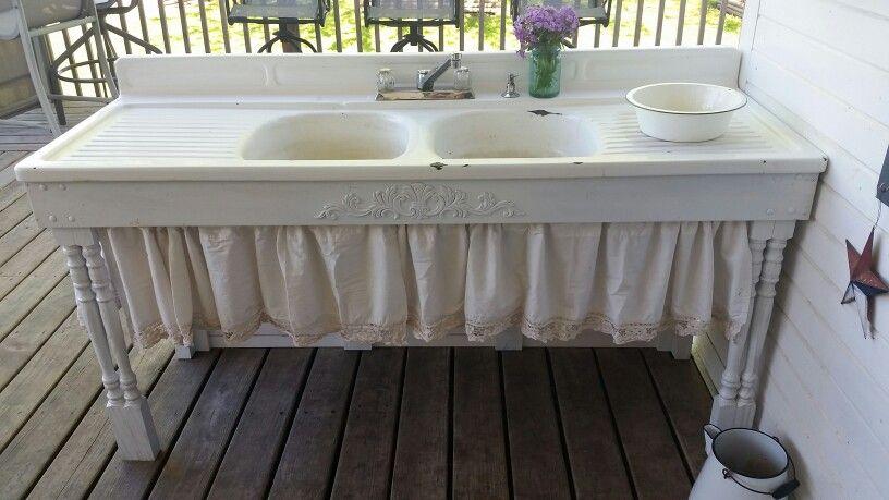 Repurposed Cast Iron Outdoor Sink Outdoor Sinks Vintage Sink Outdoor