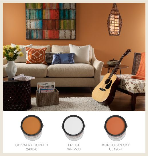 With a bit of orange in a paint color a lot of colors - Orange color paint for living room ...