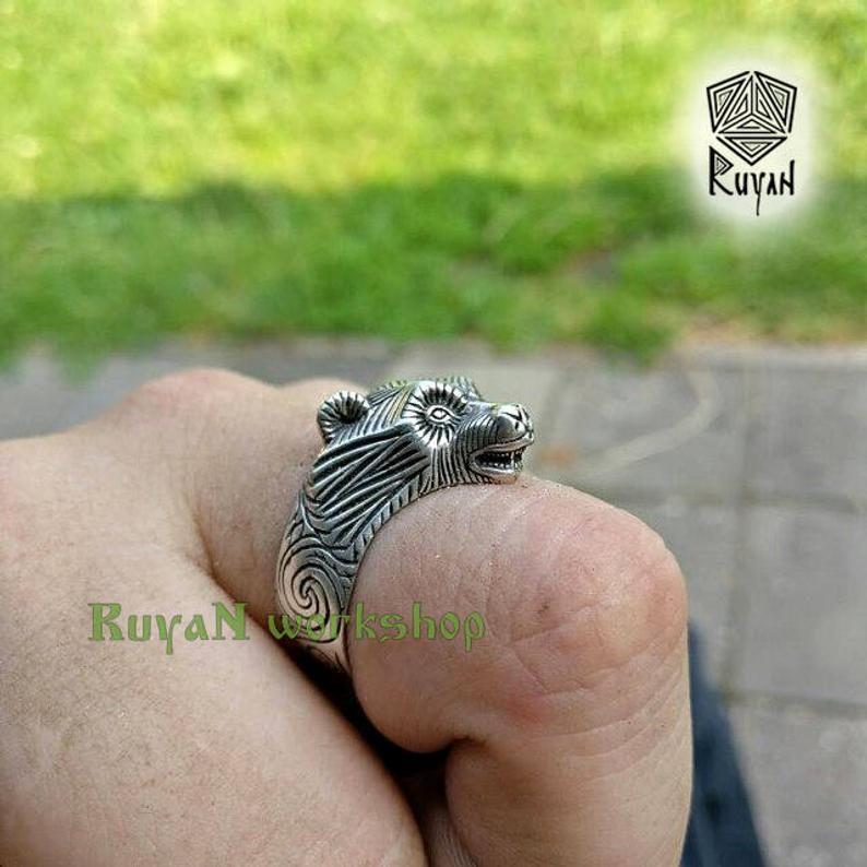 Bear ring Viking bronze jewerly Viking ring Bears head ring