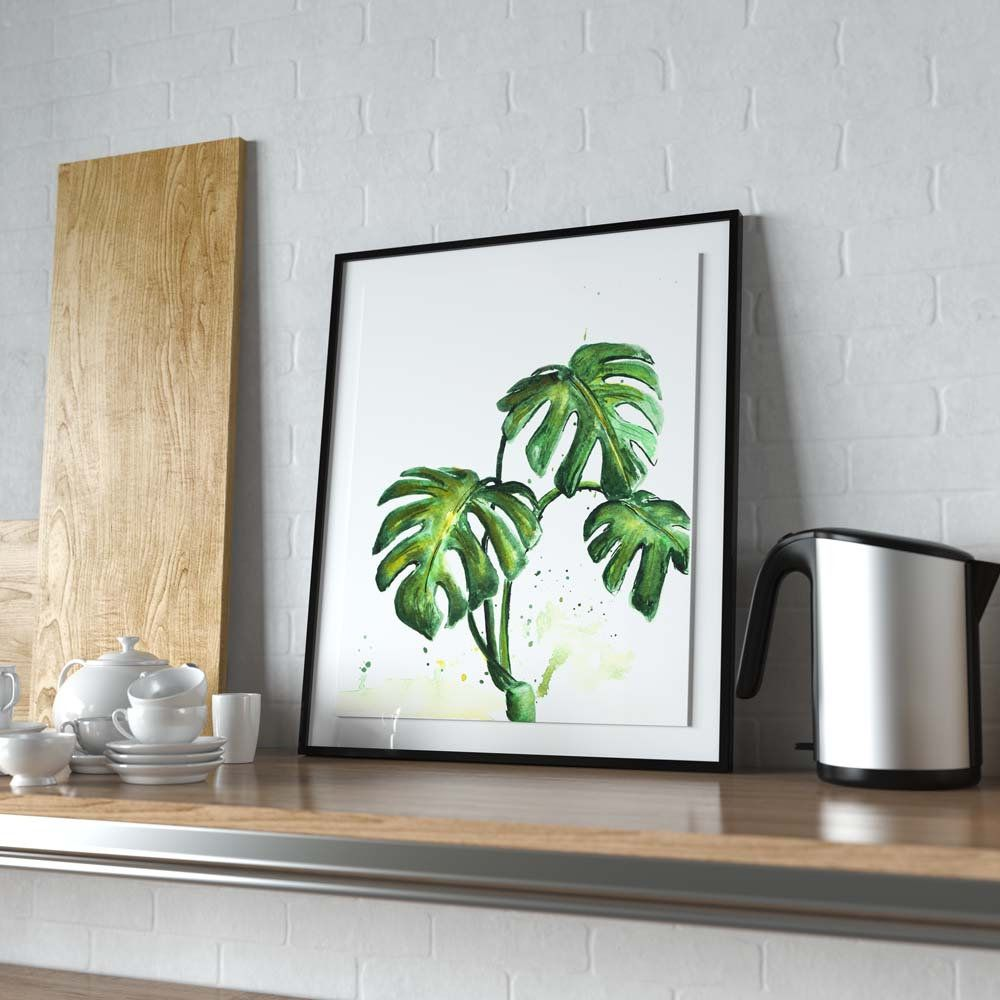 Watercolor Green Plants Monstera Nature Posters And Prints: Monstera Deliciosa Watercolor Painting, Downloadable