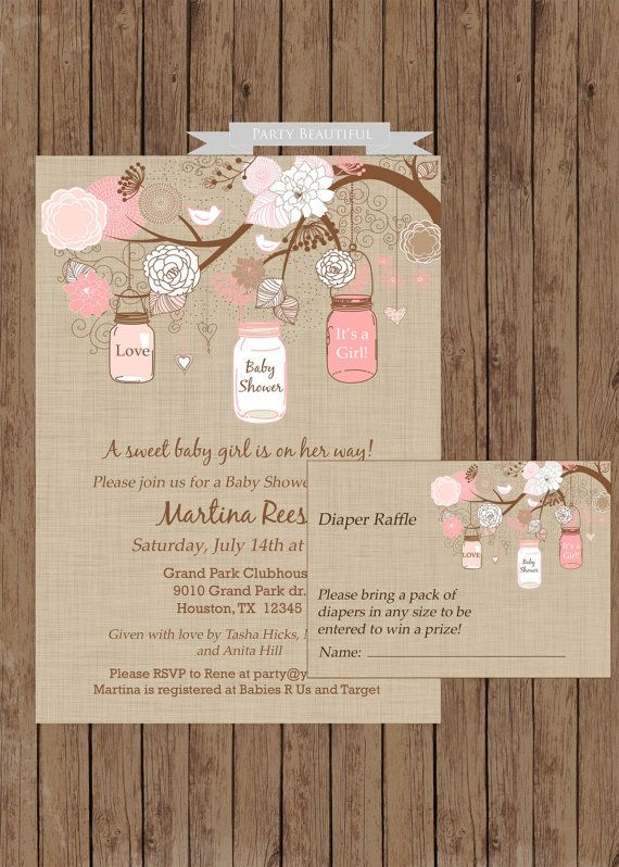 So cute rustic girl baby shower invitation and diaper raffle set rustic girl baby shower invitation and diaper raffle set filmwisefo