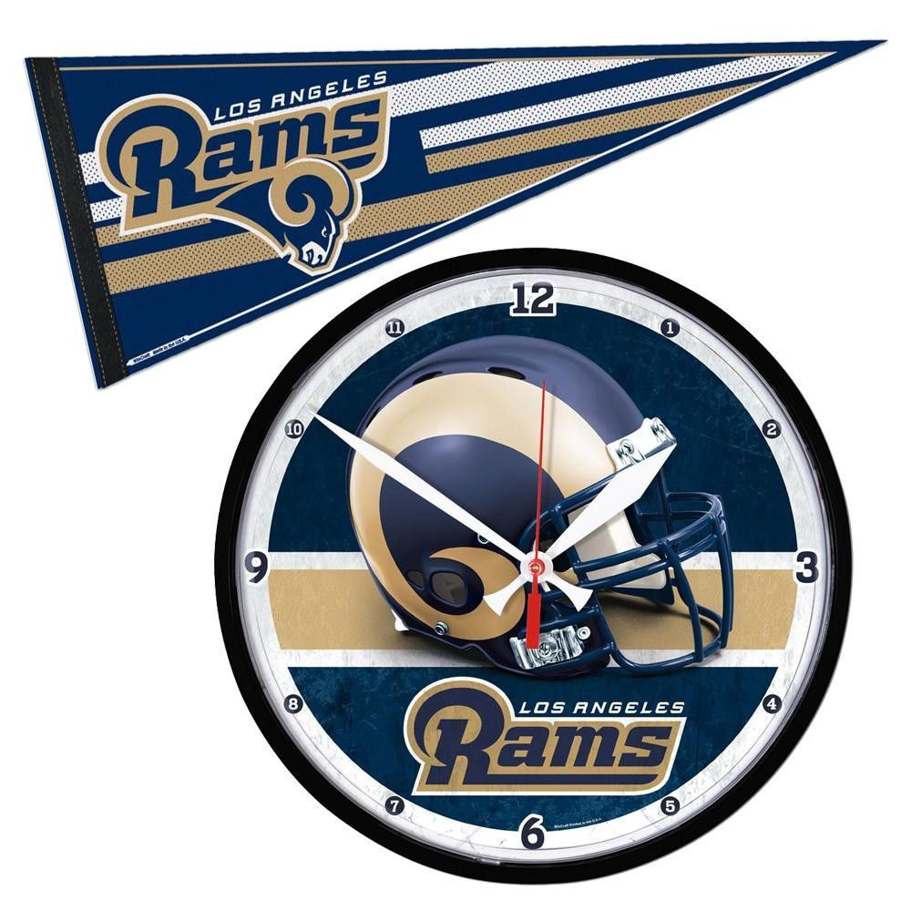 Los Angeles Rams NFL Round Wall Clock and Pennant Gift Set ... e4b290820ed