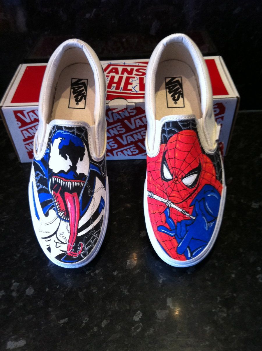 a290af1753a9c Spider-Man and Venom vans. | Shoes in 2019 | Custom sneakers, Marvel ...