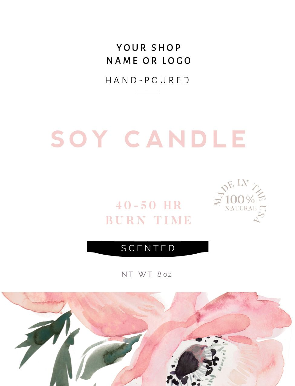 3 Candle Labels, Watercolor Bottle Labels, Photoshop Template ...