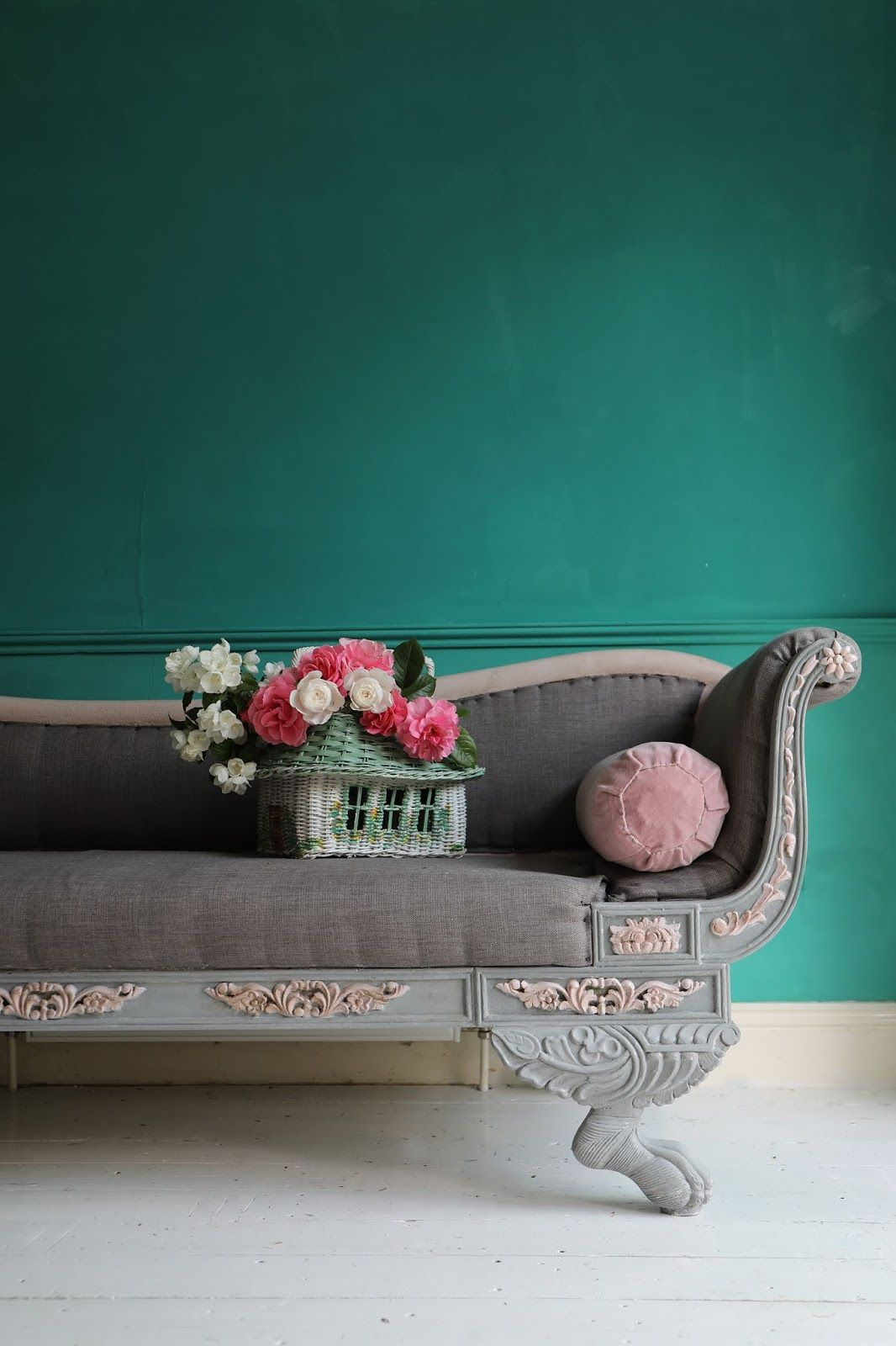Longue And Green Jade Wall Vintage Chaise With Linen French F3K1JTl5uc