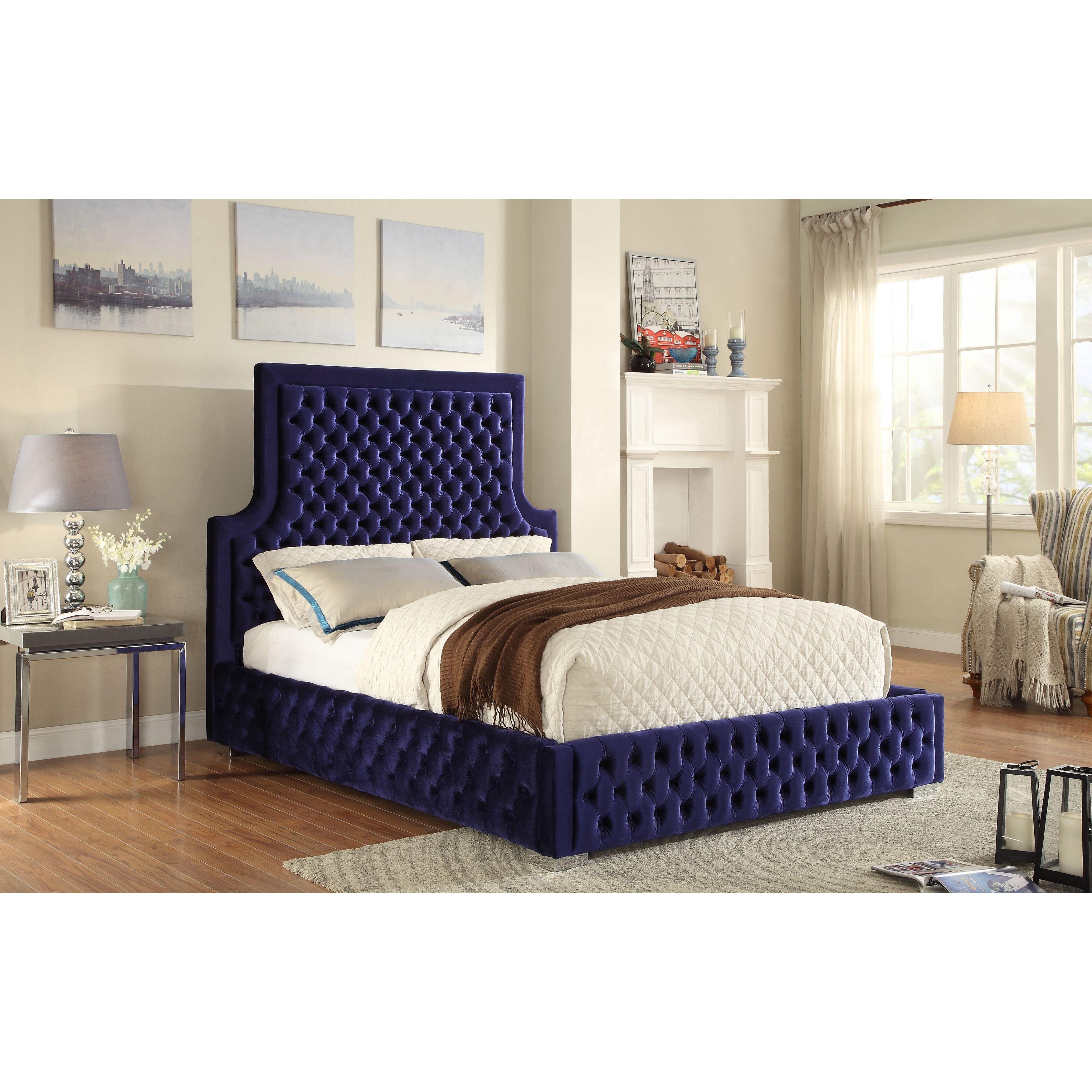 Meridian Sedona Navy Velvet Bed (Queen), Blue Velvet bed