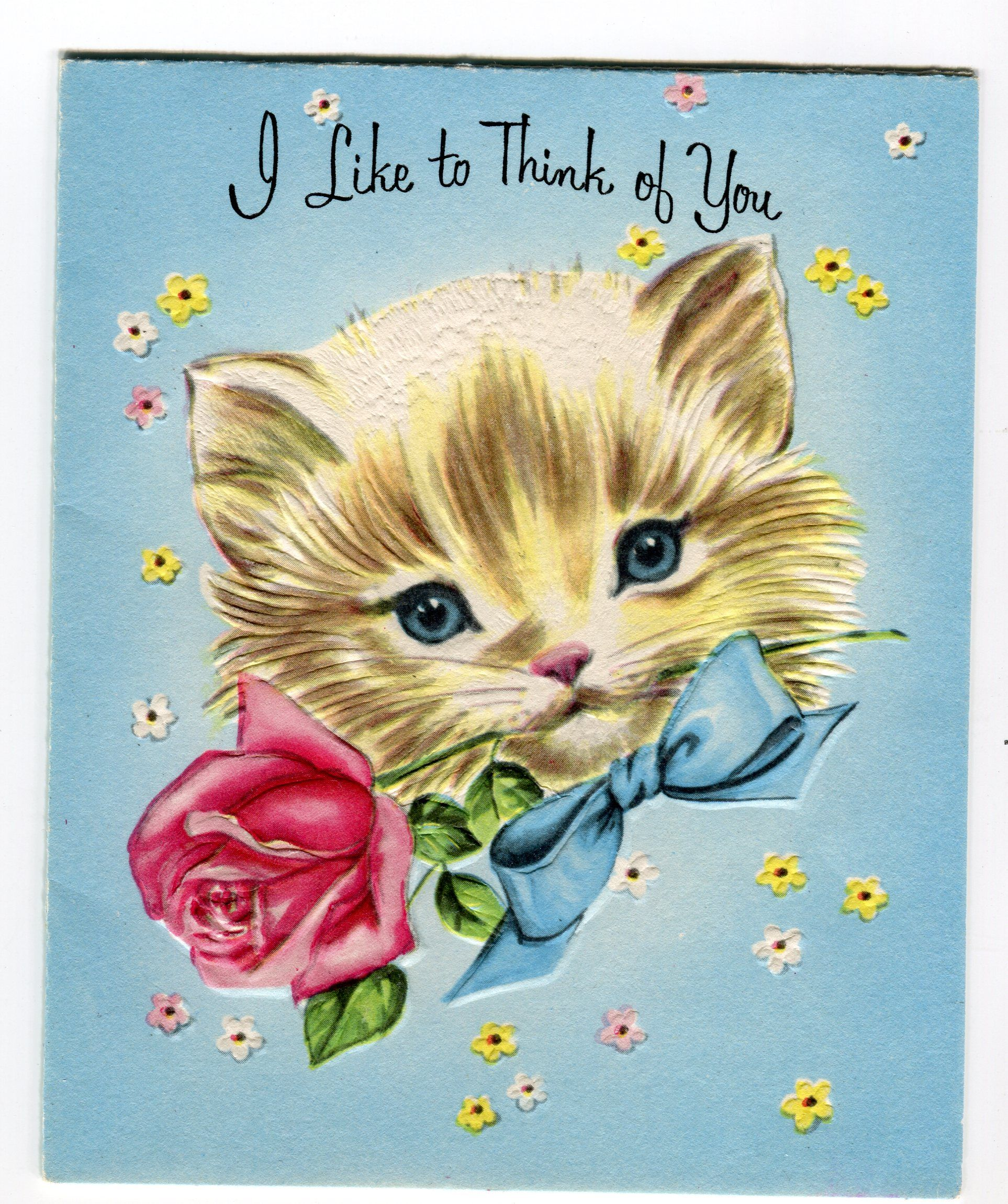 """I Like To Think of You"" vintage kitten greeting card"