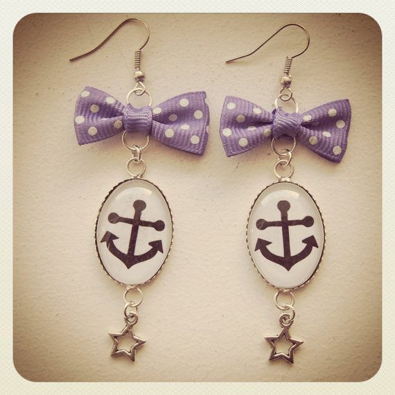 Old School Pin Up Anchor earrings violet bow by VorssaInk on Etsy, €16.00