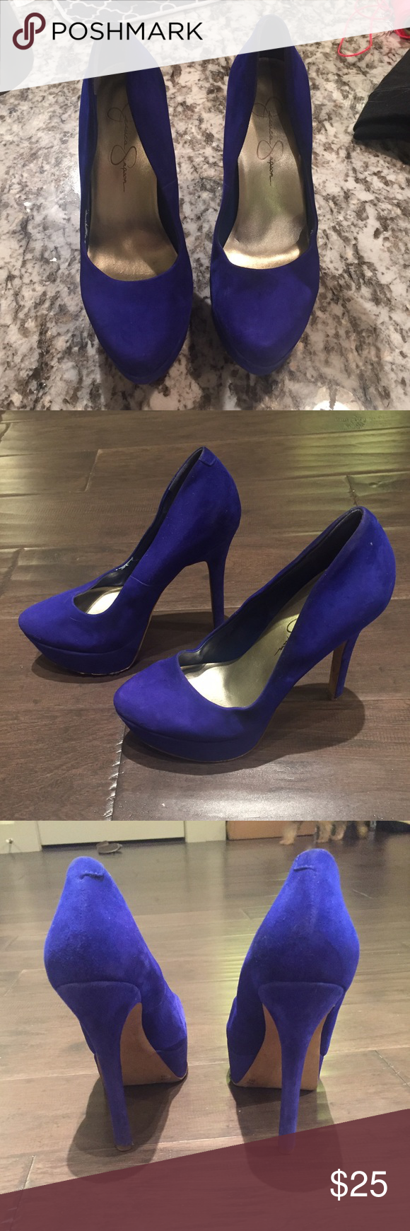 Royal Blue Jessica Simpson Pumps These Royal blue pumps are fab and fun! Worn once and are in great condition. One small scuff on button of shoe near sole- not seen when worn. Velvety material. Jessica Simpson Shoes Heels