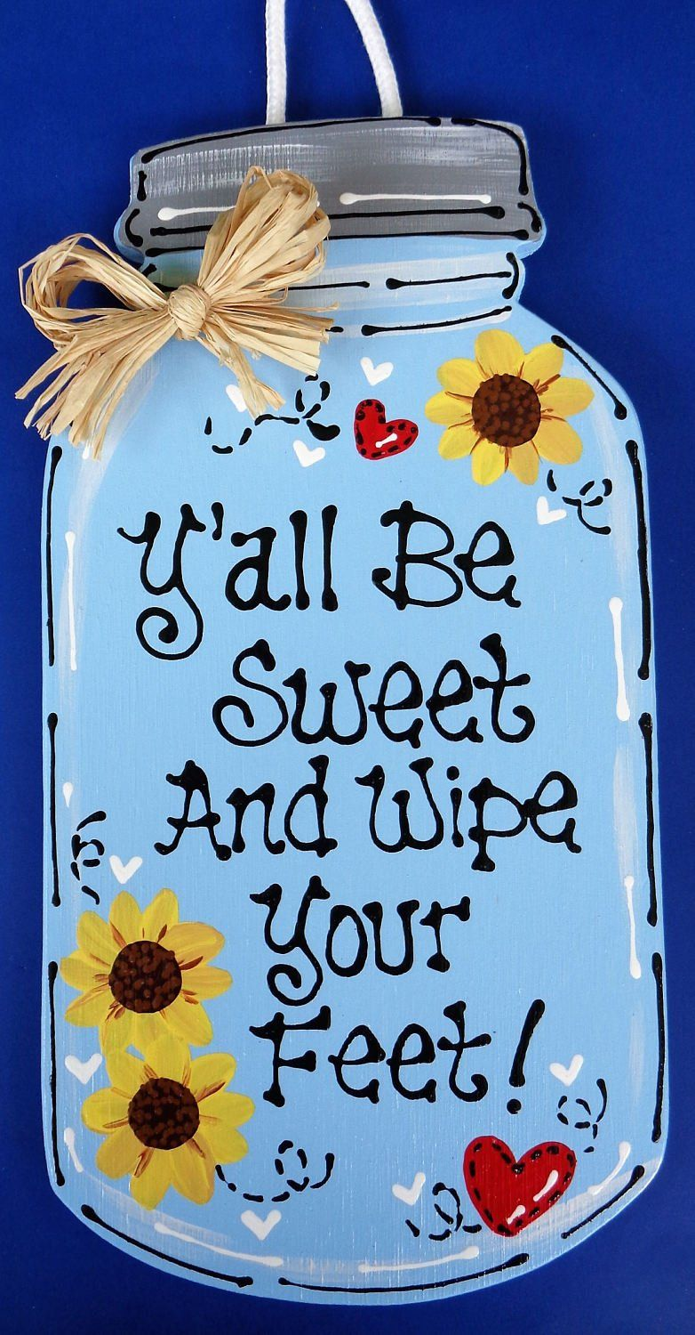 Mason jar wipe your feet sign hanging door plaque porch family wall