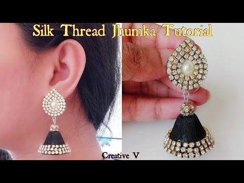 How to make Designer Silk Thread Jhumkas at Home / Silk Thread ...