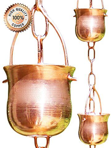 Rain Chain For Gutter Copper Made To Replace Downspouts Creates Outdoor Garden Fountain Diverter Easy I Rain Chain Copper Rain Chains Decorative Downspouts