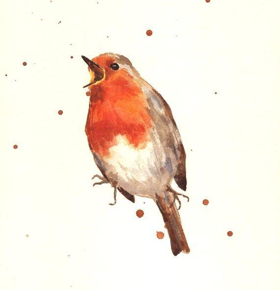 BIRD Art Prints, robin bird, Red ROBIN, bird spotter gift, cute bird illustrations