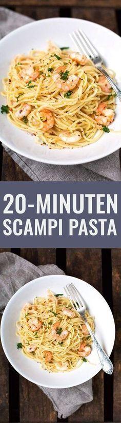 20-Minuten Scampi Pasta mit Weißwein und Zitrone - Kochkarussell