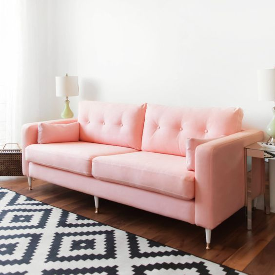KARLSTAD SOFA IKEA HACK: Mid-Century Inspired Pink Sofa | Home Decor ...