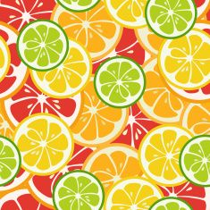 Striped seamless pattern with lime, orange and grapefruit vector art illustration