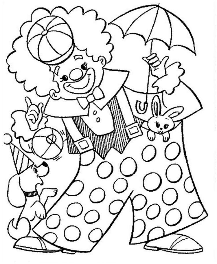Clown Ausmalbild Tiere Kinder gratis ausdrucken children ...