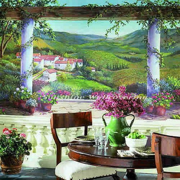 Modern Dining Room With Beautiful Mountain Wallpaper