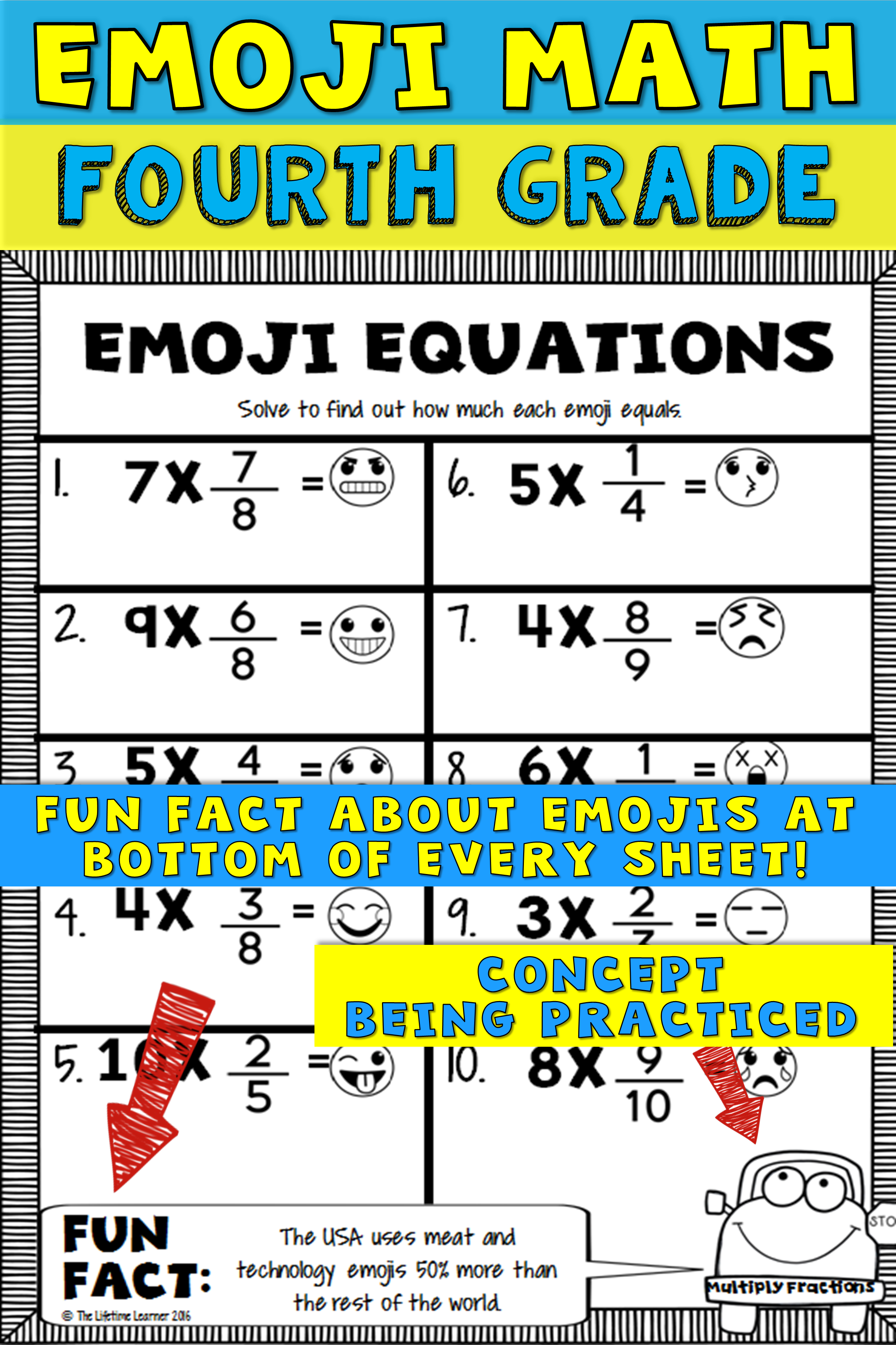 small resolution of Fourth grade math is more fun with emojis! This emoji math packet is filed  with 20 emoji math worksheets…   Emoji math