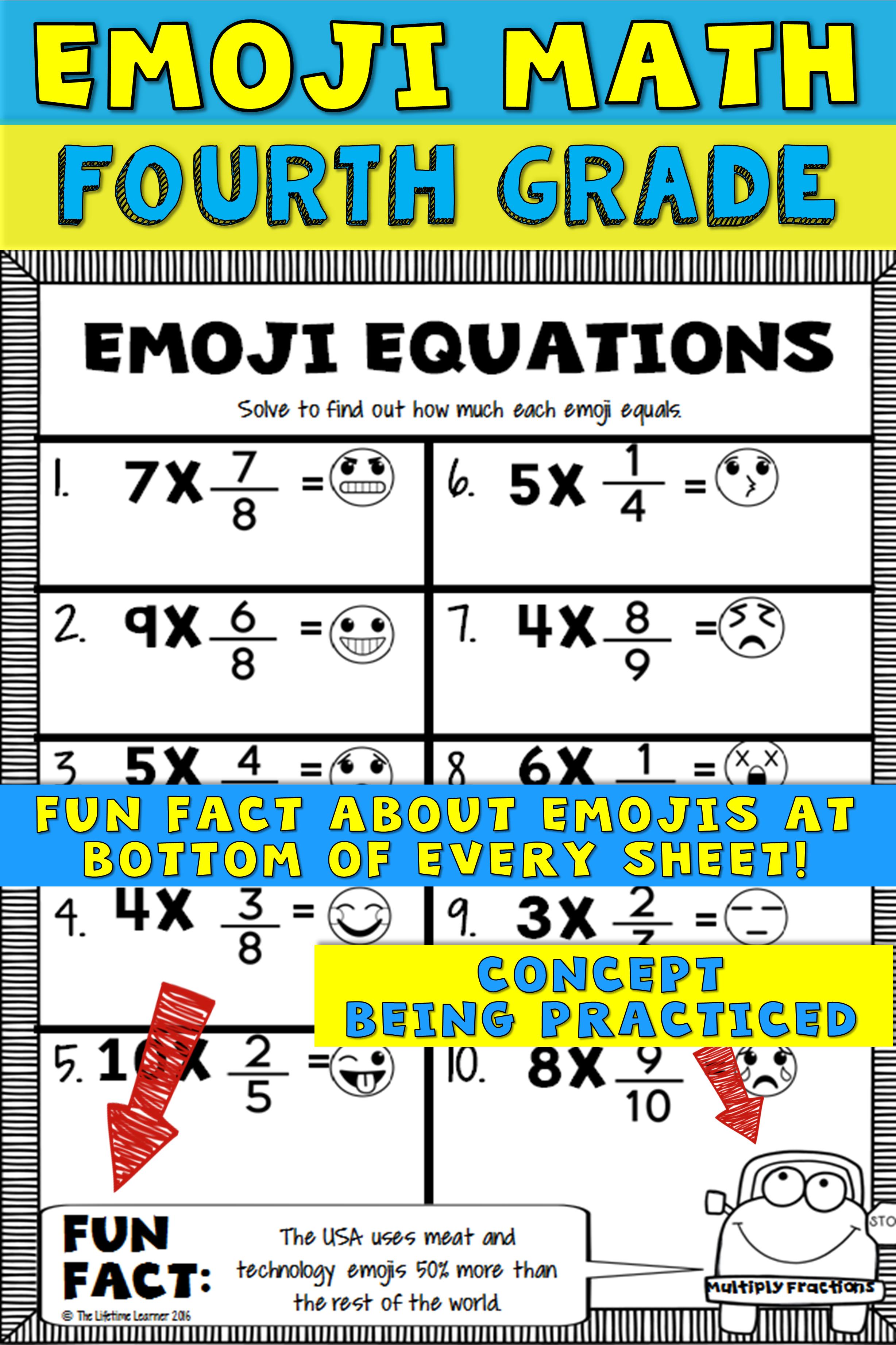 Fourth grade math is more fun with emojis! This emoji math packet is filed  with 20 emoji math worksheets…   Emoji math [ 3684 x 2456 Pixel ]