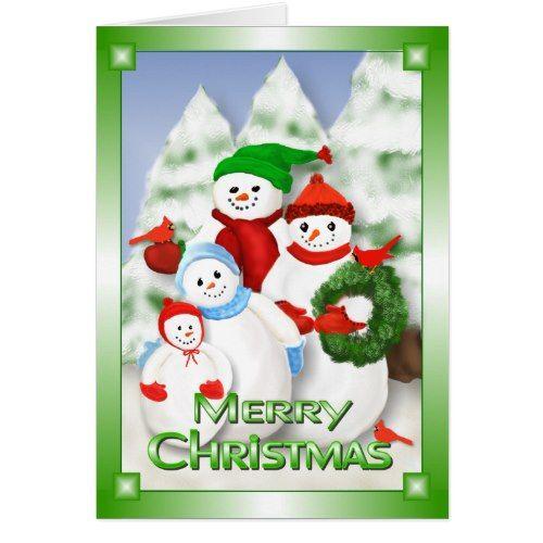 Snowman Family Christmas Greeting Card Christmas Cards Pinterest