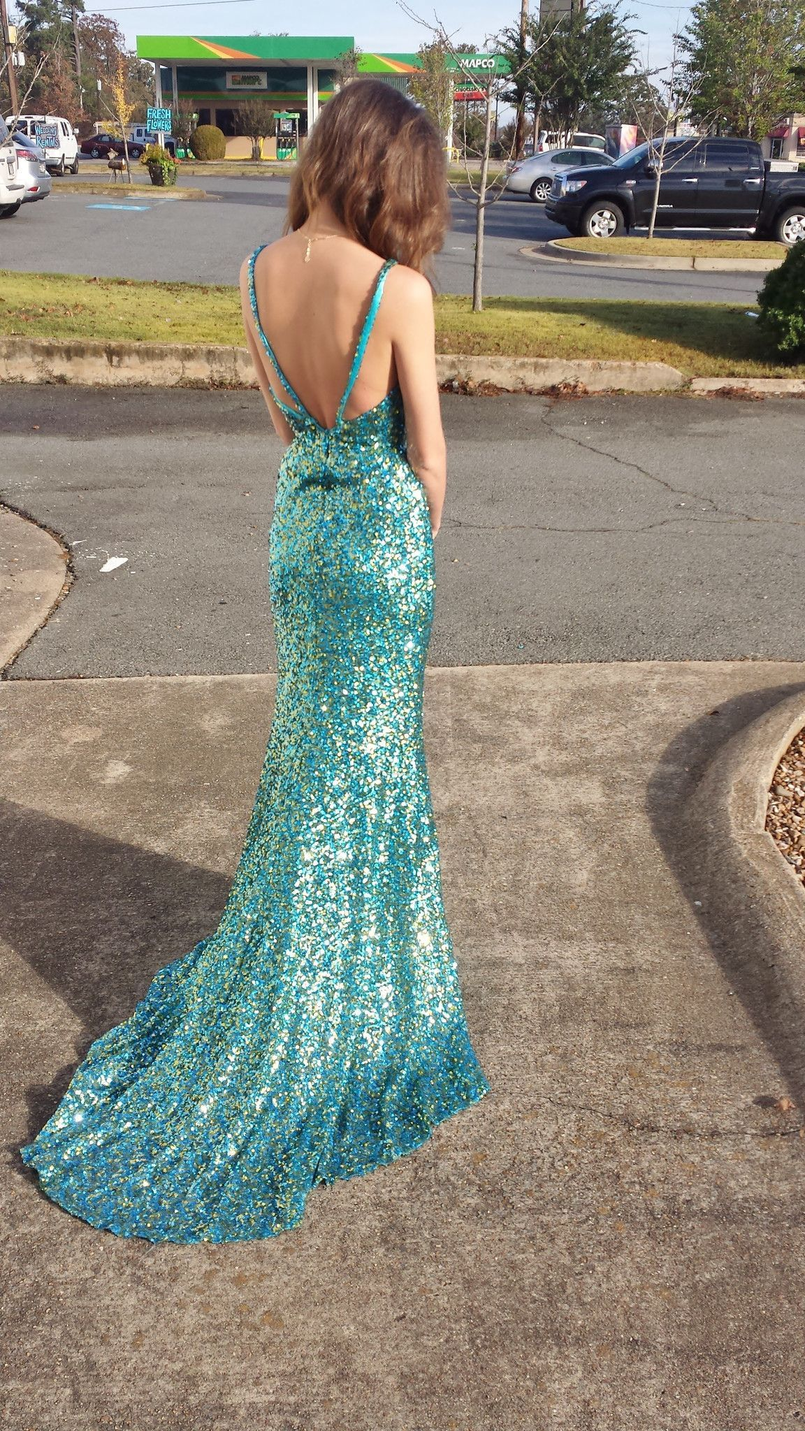 Blue and green sequined prom dress shop bridal cottage fashion