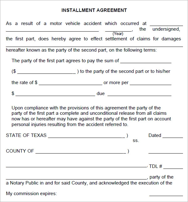 Installment Agreement 5 Free Pdf Download Contract Template How To Plan Agreement