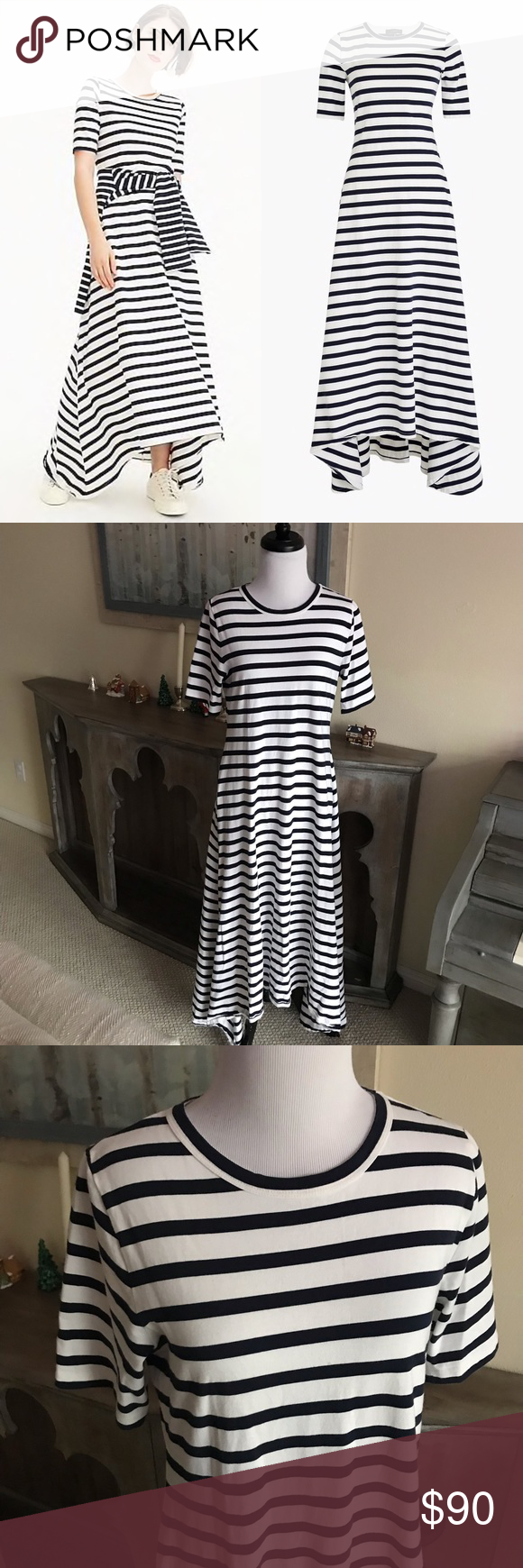 fd12a503f65 J. Crew • Striped Knit Maxi Dress Black   White • J. Crew • Striped Knit  Maxi Dress Black   White A short sleeve stripe maxi dress completes your  next ...