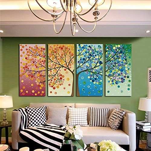 Geves Unframed Large Hd 4 Pieces Colorful Trees Abstract Oil