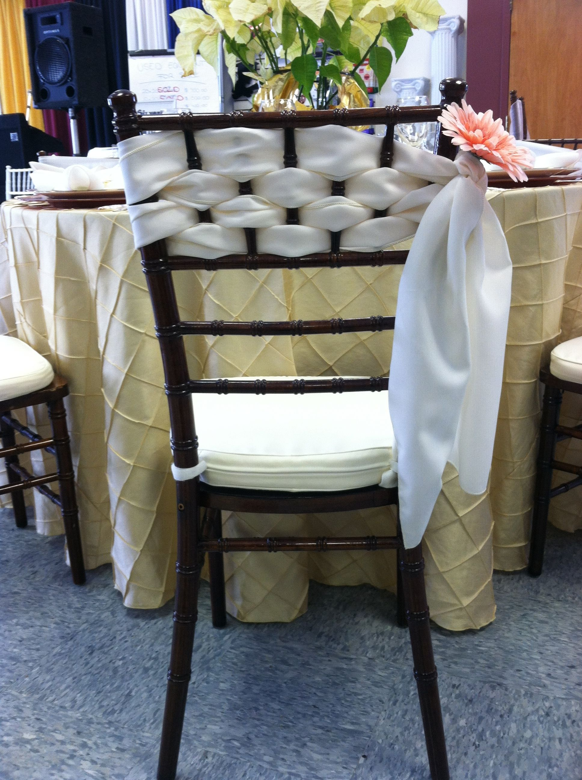 Chair sashes styles - Another Unique Chair Sash Style Add A Small Flower In Your Wedding Color To Give