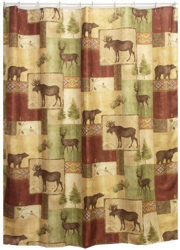 cabin decor fabric shower curtain by